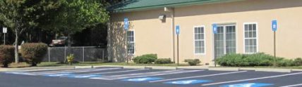 new painted handicap parking spots at Roswell Office Facility