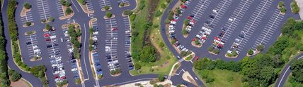 aerial view of Bass Pro Shop parking lot after