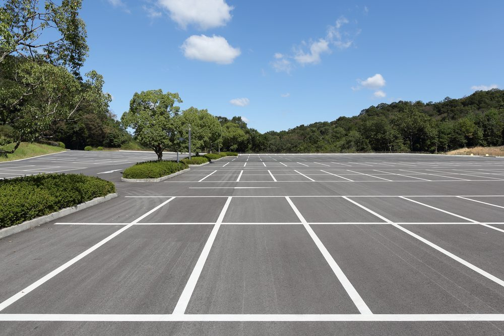 parking lot with fresh marked white lines
