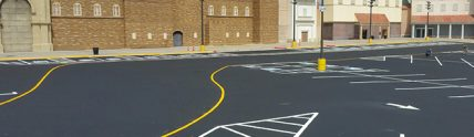 new freshly painted parking lot outside of WinStar Casino