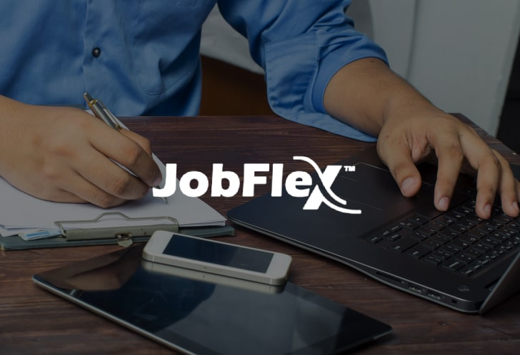 jobflex branding with businessman on laptop